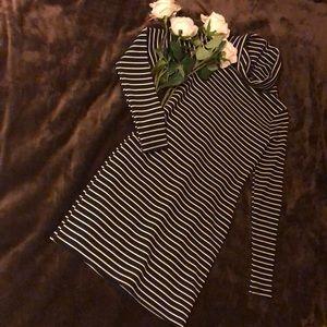 Classic Black & White Pinstripe Dress